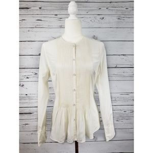 Reiss ivory pintucked front long sleeve button top
